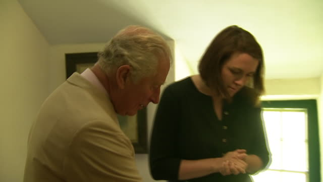 interior shots of prince charles touring yr ysgwrn the home of welsh war poet hedd wyn talking to curators about various exhibits on 5 july 2019 in... - gesellschaftsgeschichte stock-videos und b-roll-filmmaterial