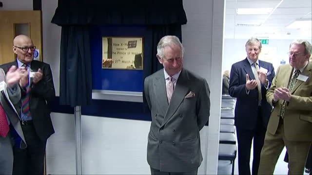interior shots of prince charles unveiling a plaque to mark the opening of a new x-ray wing at tetbury hospital and signing a visitors' book on march... - scientific imaging technique stock videos & royalty-free footage