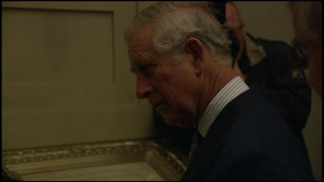 interior shots of prince charles viewing historical documents including the declaration of independence at the national archives in washington>> on... - national archives washington dc stock videos and b-roll footage