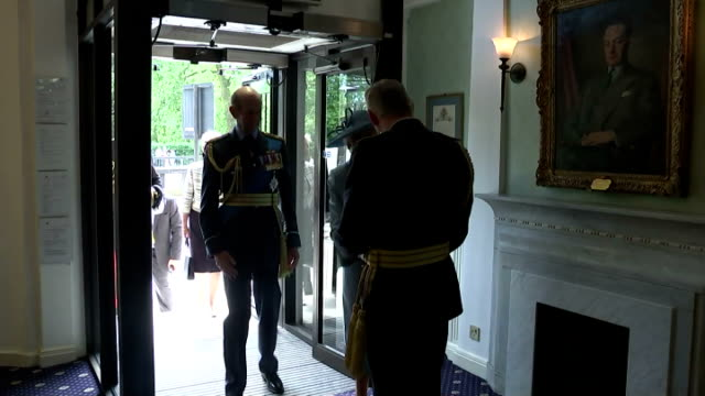 interior shots of prince edward duke of kent and wife catherine duchess of kent arriving at the royal air force club on july 10 2015 in london england - 75th anniversary stock videos & royalty-free footage