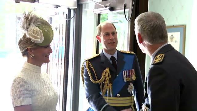 interior shots of prince edward earl of wessex and sophie countess of wessex arriving at the royal air force club on july 10 2015 in london england - luftschlacht um england stock-videos und b-roll-filmmaterial