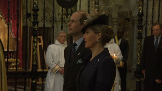 interior shots of prince edward, sophie countess of wessex, prince philip and the queen taking their places before the start of a service of... - prince edward, earl of wessex stock videos & royalty-free footage