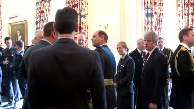 interior shots of prince edward speaking to guests at raf club during event to mark the 75th anniversary of the battle of britain on july 10 2015 in... - 75th anniversary stock videos & royalty-free footage
