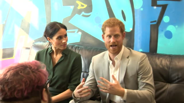 interior shots of prince harry and duchess of sussex meghan greeting and sitting with children at westbourne house school in sussex for a school... - sussex stock videos & royalty-free footage