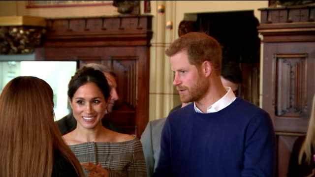 Interior shots of Prince Harry and his fiancee Meghan Markle attending an event at Cardiff Castle to celebrate Welsh culture>> on January 18 2018 in...