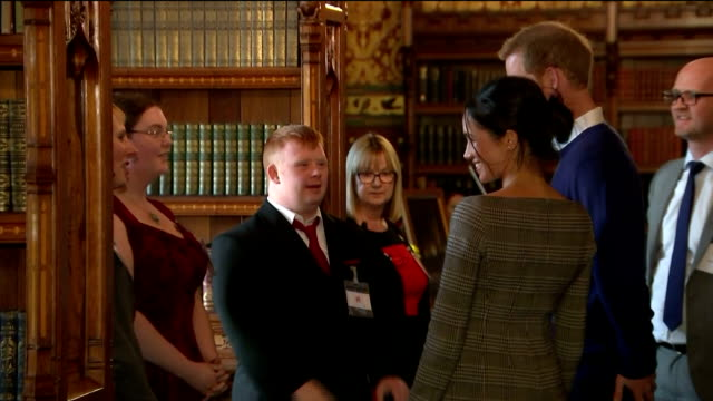 interior shots of prince harry and his fiancee meghan markle attending an event at cardiff castle to celebrate welsh culture>> on january 18 2018 in... - cardiff wales stock videos & royalty-free footage