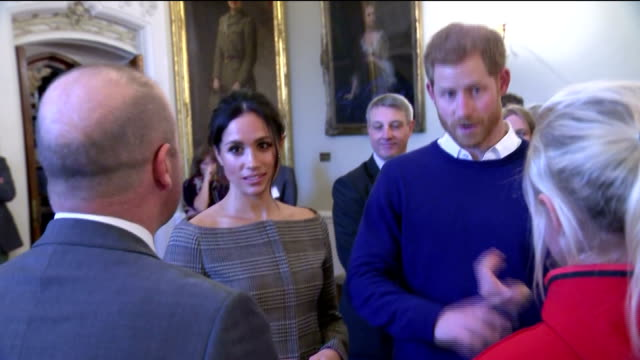 interior shots of prince harry and his fiancee meghan markle attending an event at cardiff castle to celebrate welsh culture and meeting sportsmen... - cardiff wales stock videos & royalty-free footage