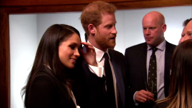 Interior shots of Prince Harry and his fiancee Meghan Markle meeting nominees at a reception before the Endeavour Awards ceremony at Goldsmiths' Hall...
