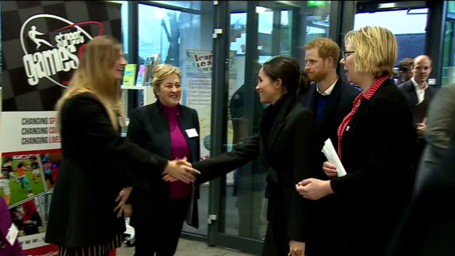 interior shots of prince harry and his fiancee meghan markle visiting the star hub community and leisure centre in cardiff>> on january 18 2018 in... - fiancé stock videos and b-roll footage