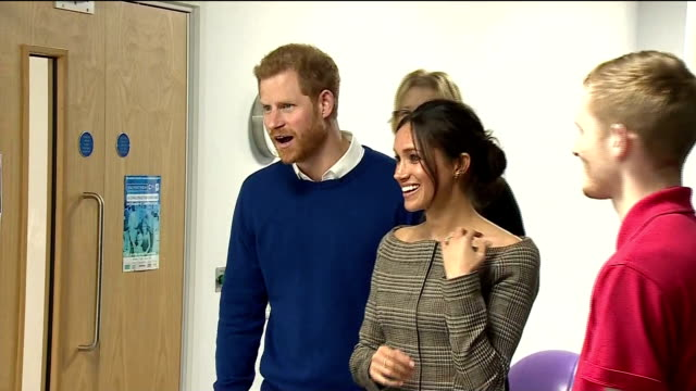 Interior shots of Prince Harry and his fiancee Meghan Markle visiting the Star Hub community and leisure centre in Cardiff and meeting coaches and...