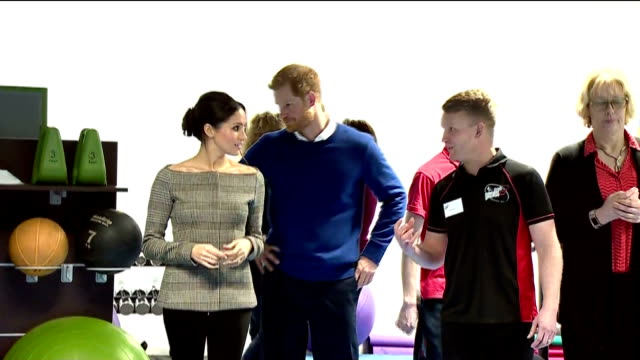 interior shots of prince harry and his fiancee meghan markle visiting the star hub community and leisure centre in cardiff and meeting coaches and... - fiancé stock videos and b-roll footage