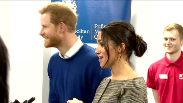 interior shots of prince harry and his fiancee meghan markle visiting the star hub community and leisure centre in cardiff and speaking to a group of... - cardiff wales stock videos & royalty-free footage