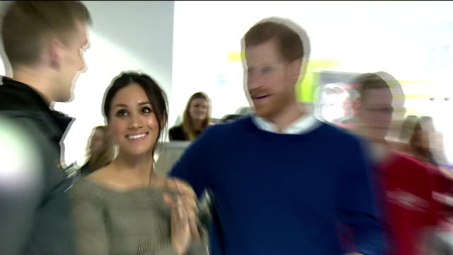 interior shots of prince harry and his fiancee meghan markle visiting the star hub community and meeting young people involved in the streetgames... - cardiff wales stock videos & royalty-free footage