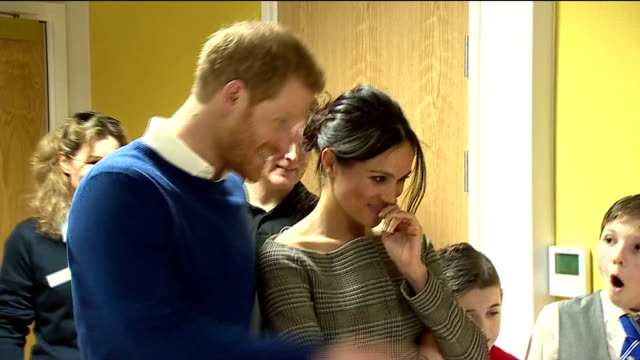 interior shots of prince harry and his fiancee meghan markle visiting the star hub community and meeting young people involved in the streetgames... - fiancé stock videos and b-roll footage