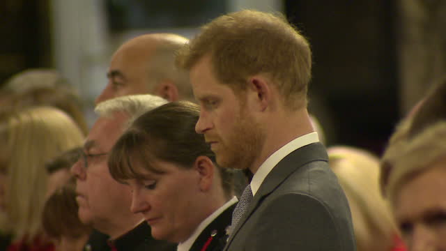 Interior shots of Prince Harry and Mary Berry attending the London Fire Brigade Carol Service and listening to a reading by London Fire Brigade...