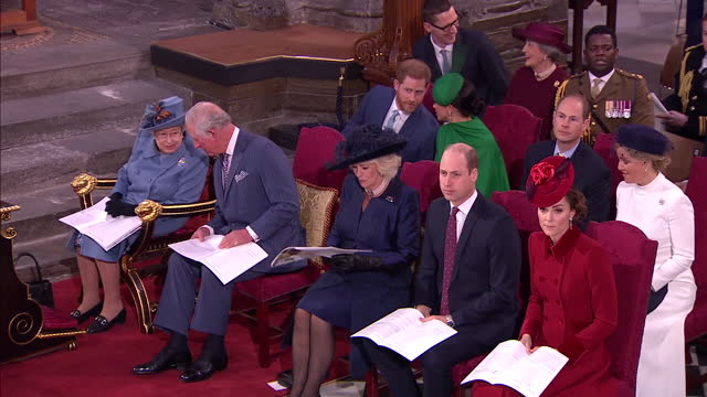 interior shots of prince harry and meghan duchess of sussex at their last engagement as senior royals, in westminster abbey with queen elizabeth ii,... - 2020 stock videos & royalty-free footage