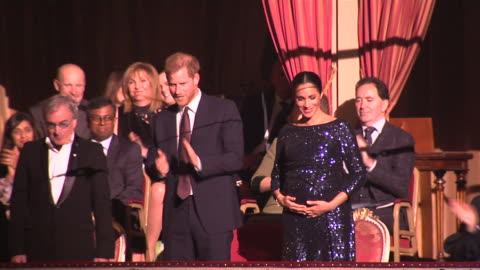 interior shots of prince harry and meghan, duchess of sussex taking seats for cirque de soleil's charity performance of 'totum' for the charity... - performing arts event stock videos & royalty-free footage