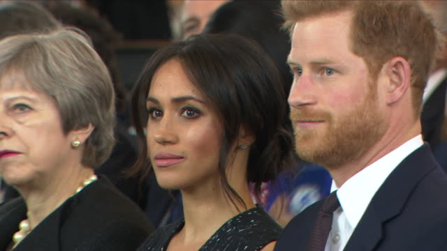 interior shots of prince harry and meghan markle arriving for memorial service marking the 25-year anniversary of the murder of stephen lawrence in... - gedenkveranstaltung stock-videos und b-roll-filmmaterial
