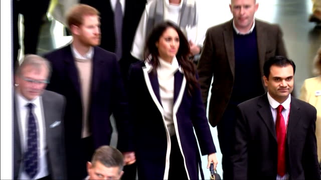 Interior shots of Prince Harry and Meghan Markle arriving to attend an event at Millennium Point to celebrate International Women's Day and meeting...