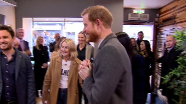 Interior shots of Prince Harry and Meghan Markle arriving to visit a Social Bites cafe a social enterprise business which helps homeless people...