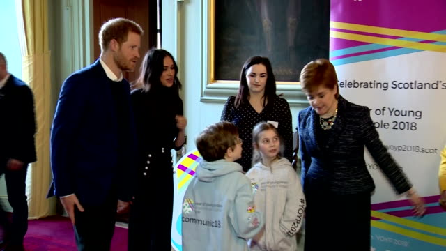interior shots of prince harry and meghan markle attending a reception at the palace of holyroodhouse to celebrate scotland's year of young people... - edinburgh scotland stock videos & royalty-free footage