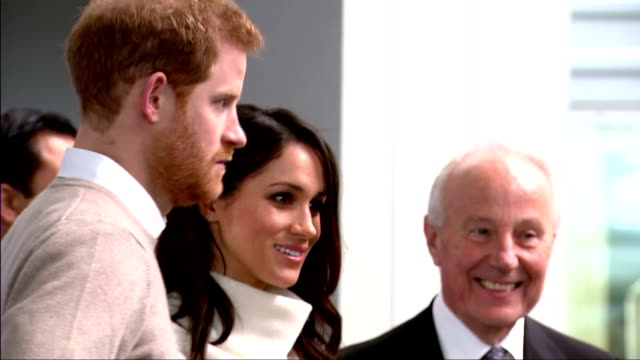 Interior shots of Prince Harry and Meghan Markle attending an event to celebrate International Women's Day and meeting representative from the...