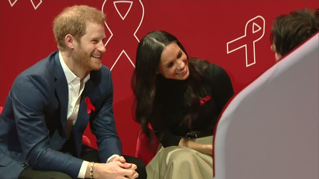 Interior shots of Prince Harry and Meghan Markle meeting charity representatives during a visit to a Terrence Higgins Trust World AIDS Day charity...