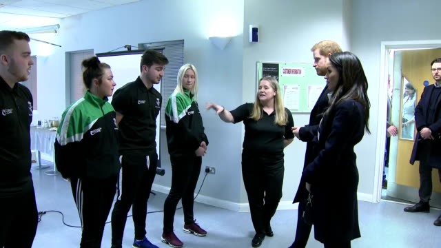 Interior shots of Prince Harry and Meghan Markle meeting Coach Core apprentices at the Nechells Wellbeing Centre before a training masterclass led by...