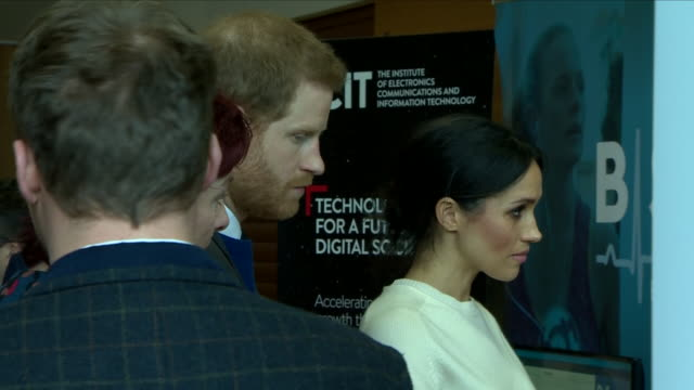 interior shots of prince harry and meghan markle meeting officials and staff on a tour of catalyst inc on 23 march 2018 in belfast nothern ireland - harry meghan tour stock videos and b-roll footage