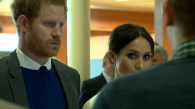 interior shots of prince harry and meghan markle meeting officials and staff on a tour of catalyst inc on 23 march 2018 in belfast nothern ireland - belfast stock videos & royalty-free footage