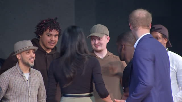 Interior shots of Prince Harry and Meghan Markle meeting performers and young people involved in the Full Effect programme during a visit to...