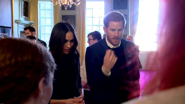 interior shots of prince harry and meghan markle meeting young people at a reception at the palace of holyroodhouse to celebrate youth achievements... - edinburgh scotland stock videos & royalty-free footage