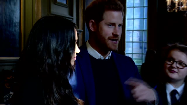interior shots of prince harry and meghan markle meeting young people and representatives from youth organisations and charities at a reception at... - edinburgh stock videos & royalty-free footage