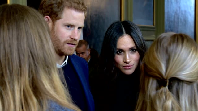 interior shots of prince harry and meghan markle meeting young people and representatives from youth organisations and charities at a reception at... - edinburgh scotland stock videos & royalty-free footage