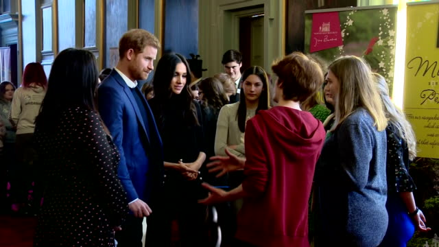 Interior shots of Prince Harry and Meghan Markle meeting young people and representatives from youth organisations and charities at a reception at...