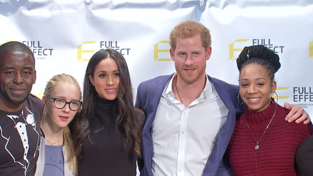 Interior shots of Prince Harry and Meghan Markle posing on stage and speaking with young people and representatives from the Full Effect programme...