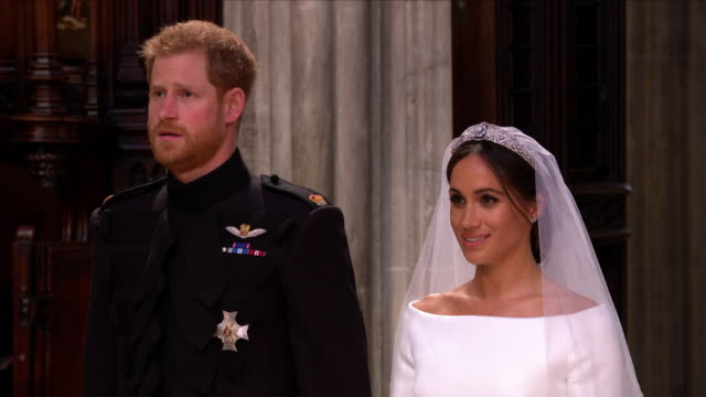 interior shots of prince harry and meghan markle singing the national anthem the queen 'god save the queen' along with the rest of the congregation... - chapel stock videos & royalty-free footage