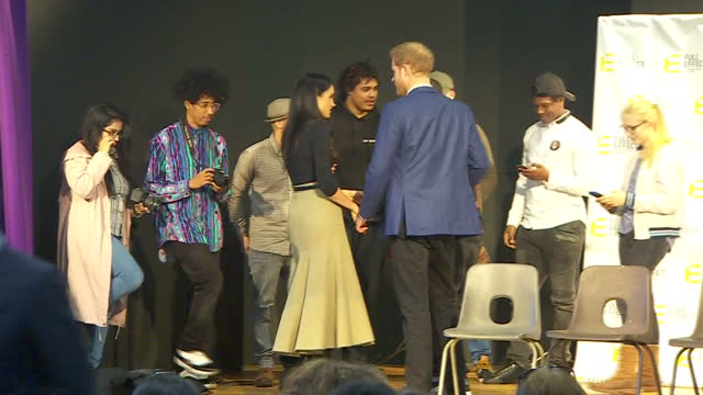 Interior shots of Prince Harry and Meghan Markle speaking to performers and representatives from the Full Effect programme after watching a...