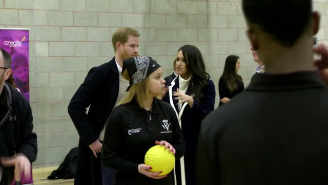 Interior shots of Prince Harry and Meghan Markle speaking to coaches and Coach Core apprentices taking part in a training masterclass at the Nechells...