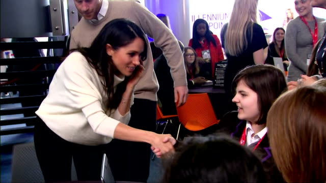 Interior shots of Prince Harry and Meghan Markle speaking to schoolgirls taking part in an event for International Women's Day to inspire more young...