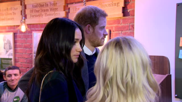 Interior shots of Prince Harry and Meghan Markle touring Social Bites a social enterprise cafe that distributes food to homeless people and employs...