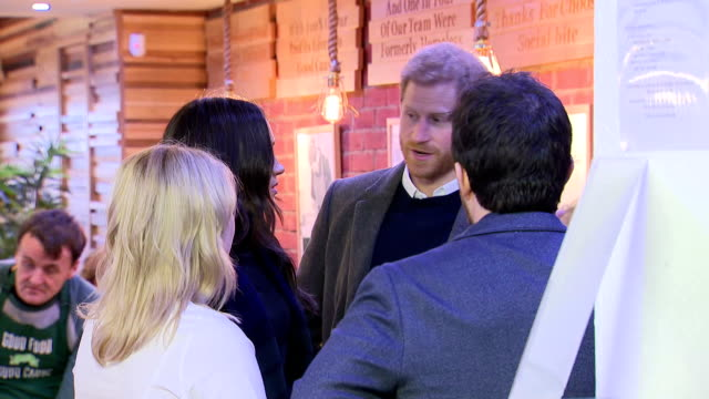 interior shots of prince harry and meghan markle touring social bites a social enterprise cafe that distributes food to homeless people and employs... - edinburgh stock videos and b-roll footage
