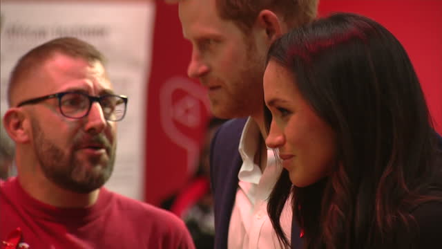 Interior shots of Prince Harry and Meghan Markle visiting a Terrence Higgins Trust World AIDS Day charity fair at the Nottingham Contemporary meeting...
