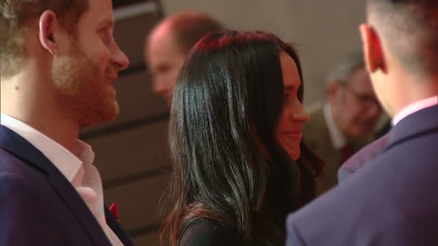 Interior shots of Prince Harry and Meghan Markle visiting a Terrence Higgins Trust World AIDS Day charity fair at the Nottingham Contemporary and...