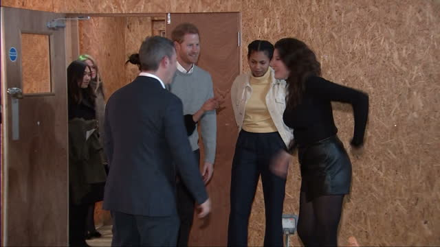 Interior shots of Prince Harry and Meghan Markle visiting the studios of Reprezent FM in Brixton and meeting members of staff on January 09 2018 in...