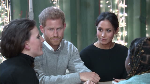CLEAN Interior shots of Prince Harry and Meghan Markle visiting the studios of Reprezent FM in Brixton and meeting members of staff including closeup...