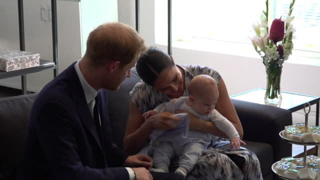interior shots of prince harry and meghan with bayby archie meeting archbishop desmond tutu and his wife leah tutu on 25th september 2019 in cape... - prince harry stock videos & royalty-free footage