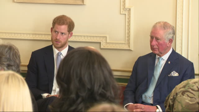interior shots of prince harry and prince charles listening to experts speak on knife crime and youth violence at a meeting at clarence house on 12... - prince of wales stock videos & royalty-free footage