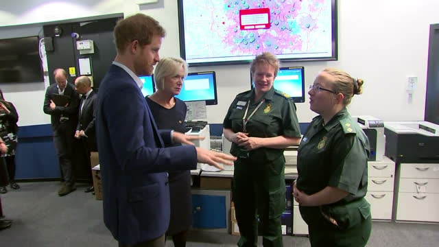 Interior shots of Prince Harry arriving at the London Ambulance Service operations centre and meeting members of staff in support of Time to Talk Day...