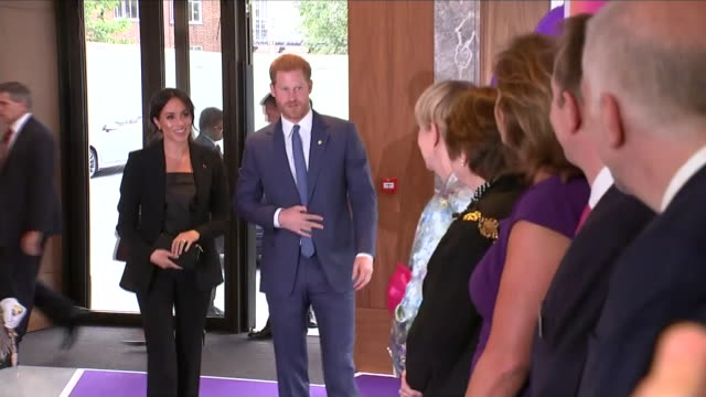 Interior shots of Prince Harry Duke of Sussex and Maghan Duchess of Sussex arriving at the Royal Lancaster Hotel for the WellChild awards on 4th...